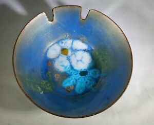 Mid Century Danish Modern Curtis Blue Enamel Over Copper Ashtray Vintage Flower
