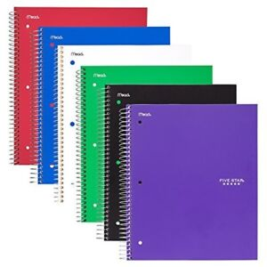6 pack Spiral Notebooks 5 Subject College Ruled Paper 200 Sheets 11 X 8 1 2