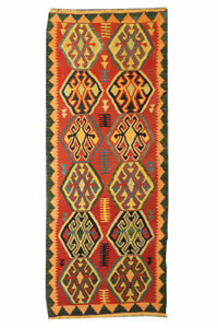 Orange Geometric Runner Hand Knotted Vintage Antique Distress Kilim Rug Carpet