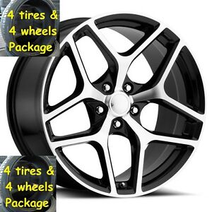 4 20 Staggered Tires Wheel Machined Black Camaro 2010 19 Rims Tpms Z28 Style