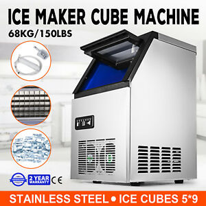 Ice Cube Making Machine Commercial 150lb 24h Ice Cube Maker Stainless Steel