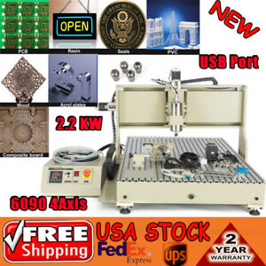 4 Axis Usb 6090 Cnc Router 2200w Metal Wood Engraver milling Drilling Machine