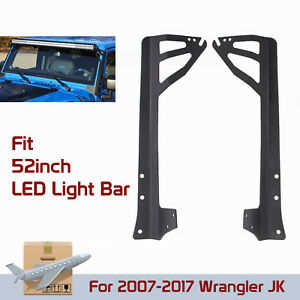 For Jeep 07 18 Wrangler Jk Windshield Mounting Bracket 52 Led Work Light Bar