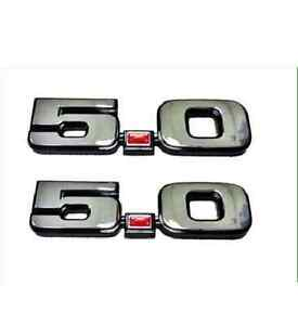 1979 1993 Mustang Gt Lx 5 0 Fender Emblem Badge Chrome New Pair Free Shipping
