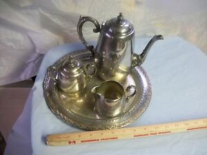 Wm Rogers Silver Plated Coffee Tea Set With Tray Estate Find