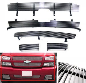 2003 2004 2005 Chevy Silverado 1500 Ss Polished Front Upper bumper Billet Grille