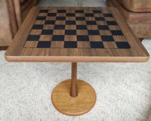 Must Have Vintage Mid Century Modern Checkerboard Chess Game Pedestal Side Table