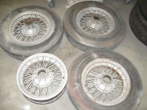 Set Of 4 Oem 1958 Jaguar Xk140 Roadster Knock Off Wire Wheels no Tires
