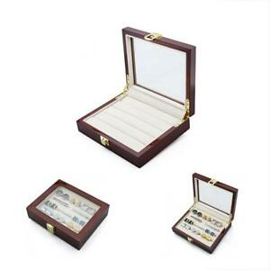 Wood Jewelry Boxes Cufflinks Case With Glass Top Ring Storage Organizer For Men