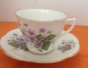 Rosina Vintage Purple Flowers Gold Trimmed Tea Cup And Saucer