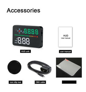 3 5 Car Hud Projector Obdii 2 Window Head Up Display Time Speed Warning System