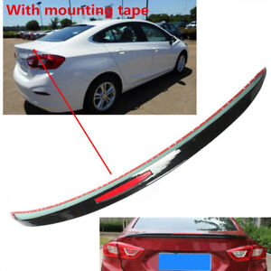 Painted Black Rear Spoiler Red Reflector Trim Fit For Chevy Cruze 2017 19 Sedan