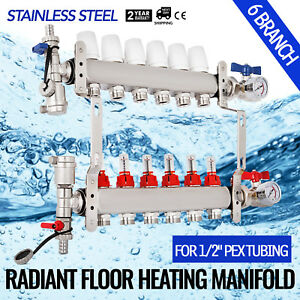 6 branch Radiant Floor Heating Manifold Set Pressure Assembled Stainless Steel