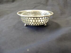Gorham Round Glass Lined Salt Cellar With Sterling Silver Basket C 1875 1900