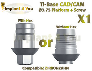 X1 Dental Implant Cad cam Ti base With Hex without Hex Zirkonzahn Compatible