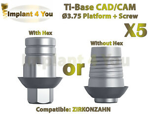 X5 Dental Implant Cad cam Ti base With Hex without Hex Zirkonzahn Compatible