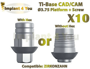 X10 Dental Implant Cad cam Ti base With Hex without Hex Zirkonzahn Compatible