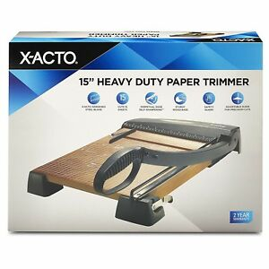 X acto Heavy Duty Wood Guillotine Trimmer Paper Wood Base School Cut 15 Inches