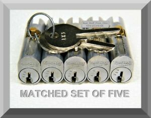 File Cabinet Lock Five Matched Chicago Locks With Two Keys Oem