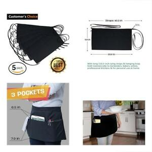 Nezzon Black Waitress Apron 5 Pack With 3 Pockets 7 9x6 5commercial Grade 35