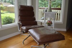 Herman Miller Original Eames Aluminum Group Soft Pad Lounge Chair And Ottoman