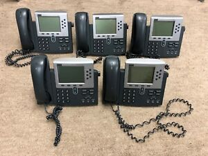 Lot Of 5 Cisco Ip Phones 7960 Series W Headsets No Adapters