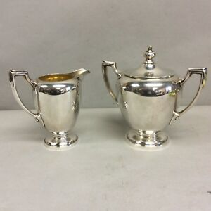 Reed Barton Sterling Sugar And Creamer Pointed Antique