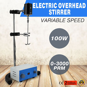 1electric Overhead Stirrer Mixer Stainless Steel Shaft Variable Speed Hot