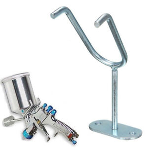 Gravity Feed Paint Spray Gun Holder Stand Silver Wall Bench Mount Hook Booth Cup