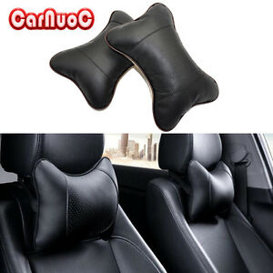 2x Car Seat Headrest Neck Pillow Support Leather Comfortable Travel Cushion Pad