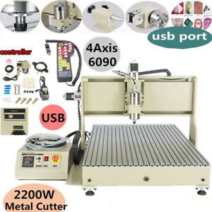 Usb 6090t 4 Axis Cnc Router Engraver Milling Machine 2200w Vfd Usb Controller