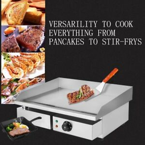 Restaurant Flat Top Grill Electric Countertop Griddle 1500w 14 Bbq Steel Hr