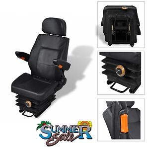 Universal Comfortable Tractor Seat With Armrest Head Rest Spring Easy Suspension