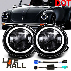 Dot 7 Inch Led Round Headlights Hi Low Cree Drl Fit Volkswagen Vw Beetle Classic
