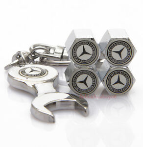 Car Accessories Tire Valve Caps Valve Covers Wrench Keychain For Mercedes Benz
