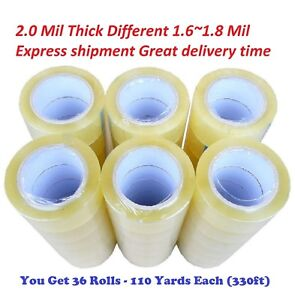 36 Rolls Clear Packing Packaging Carton Sealing Tape 2 0 Mil Thick 2x110 Yards