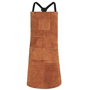 Qeelink Leather Welding Apron Heat amp Flame resistant Heavy Duty brown