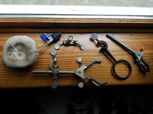 Lot Of 6 Vintage Lab Equiptment fiisherbrand 5 Clamps 1 Heating Mantel