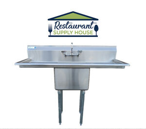 Stainless Steel 1 Compartment Sink 54 X 23 2 Drainboards Nsf Certified Faucet