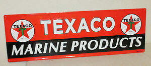 Large Vintage Style 42 X 14 Texaco Marine Oil Gas Station Signs Man Cave Usa
