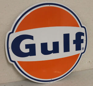 Large Vintage Style 24 Gulf Oil Gas Station Signs Man Cave Garage Decor
