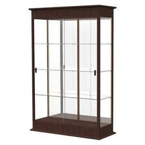 Lighted Floor Display Case 48x77x18 Sliding Doors Mirror