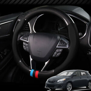 For Toyota Matrix Car Steering Wheel Cover Anti Slip Carbon Fiber Top Leather