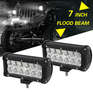 2x 7inch 36w Led Work Light Bar Flood Offroad Atv Fog Truck Lamp 4wd 12v 24v 6