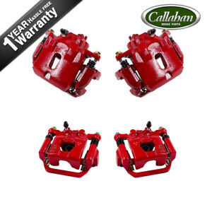 Front And Rear Red Powder Coated Calipers Set For 2004 2005 2006 Nissan Maxima
