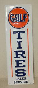 Large Vintage Style 42 X 14 Gulf Tires Oil Gas Station Signs Man Cave Usa