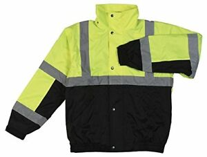 Erb W106t Ansi Class 3 Hi viz Lime black Bomber Jacket W Fleece Liner