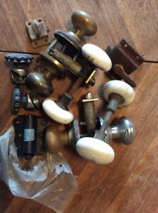Large Lot Vintage Door Knobs And Locks Porcelain Hinges Latch Hardware Art Deco