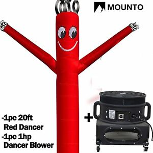 Mounto 20ft Red Inflatable Fly Dancer Dancing Sky Puppet With Blower