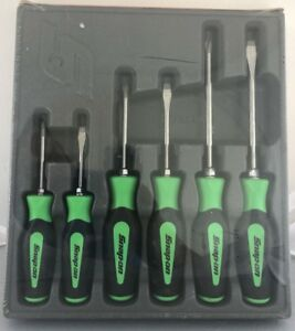Snap On Tools Screwdriver Set Green Soft Grip Combination 6 Pc Set